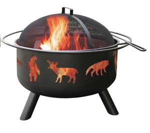 Landmann USA 28347 Big Sky Fire Pit, Wildlife, Black Photo 2
